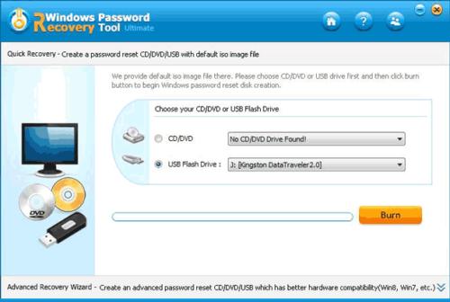 Выбор носителя в программе Reset Windows Password Utility