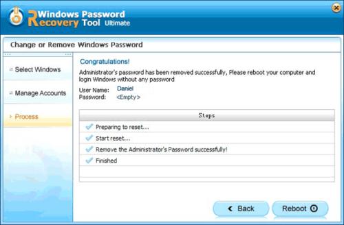 Завершение сброса пароля в программе Reset Windows Password Utility