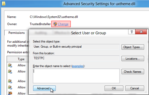advanced-security-setting-for-uxtheme.dll