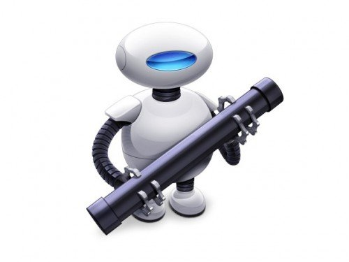 Робот с оружием в руках