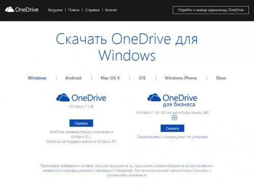 окно OneDrive, где можно скачать программу на ПК