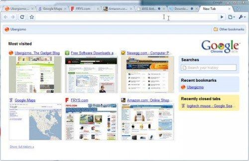 Окно браузера Google