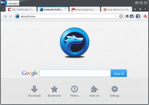 окно браузера Comodo IceDragon