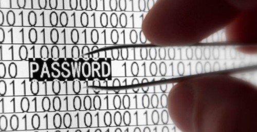 Изображение руки с пинцетом изымающей надпись password из ряда единичного кода