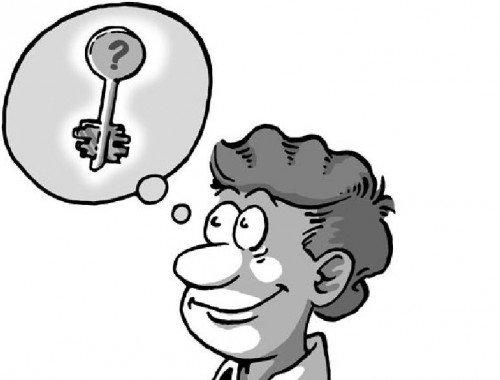 Изображение лица мужчины с ключом которых расположен в облачке над головой