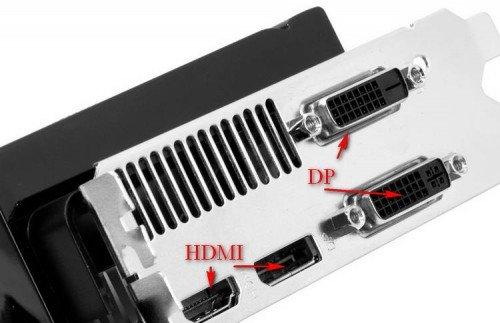Разъемы для подключения кабеля на задней панеле компьютера