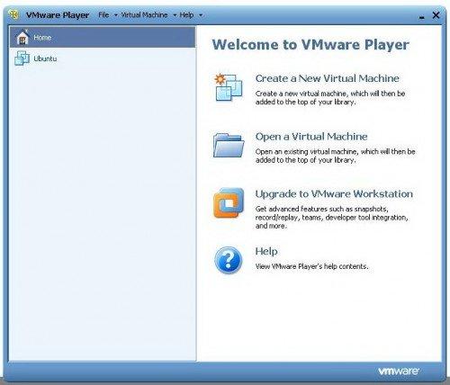 Приветственное меню VMware Player