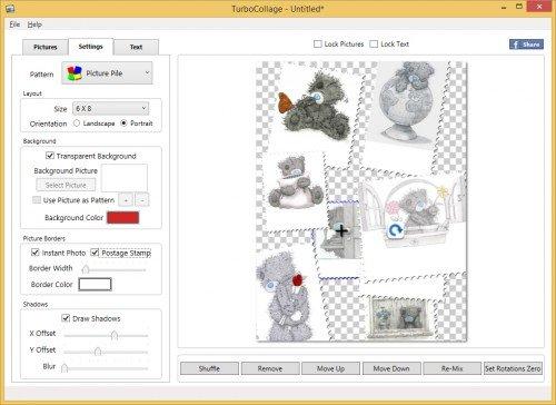 Окно работы в редакторе TurboCollage