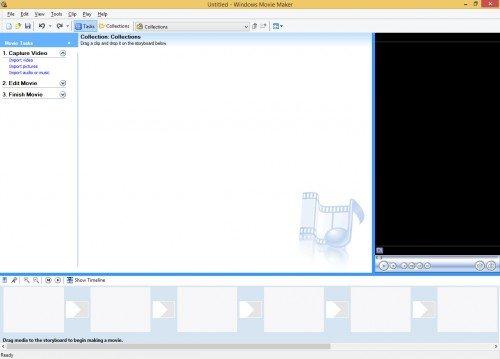 Windows Movie Maker, интерфейс программы