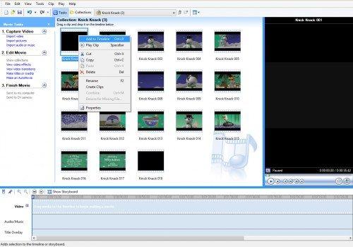 Выбор фрагмента фильма в Windows Movie Maker