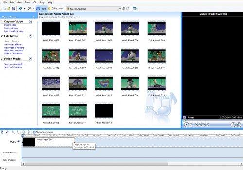 Фрагмент фильма на таймлайне в Windows Movie Maker