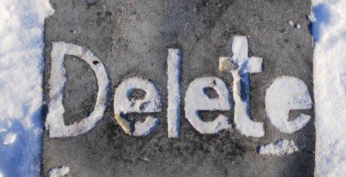 Надпись Delete