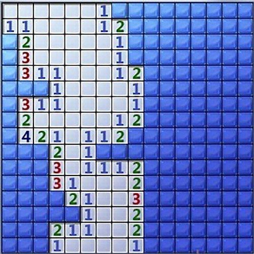 Поле с открытыми квадратиками и цифрами