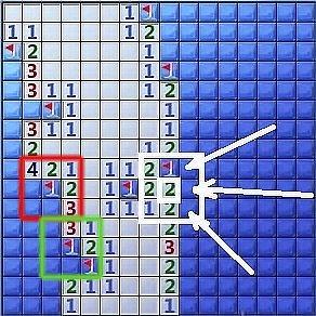 Рисунок с игрой, в которой есть участки с точным определением положения мин
