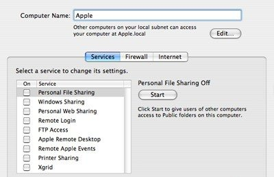 Раздел Sharing, вкладка Firewall