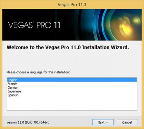 Выбор языка при установке Sony Vegas Pro