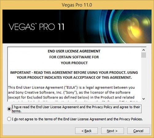 Лицензионное соглашение Sony Vegas Pro