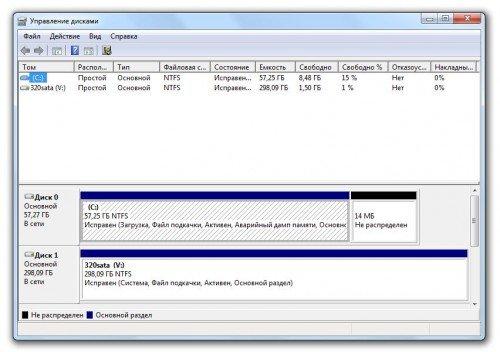 Окно с утилитой «Управление дисками»