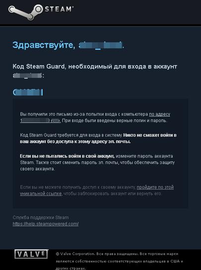 Сообщение Steam