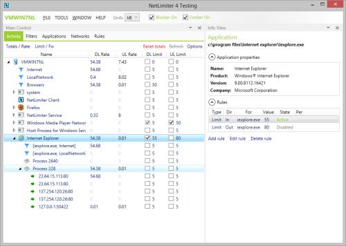 Окно программы NetLimiter