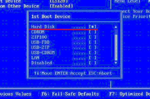 BIOS окно 1st Boot Device