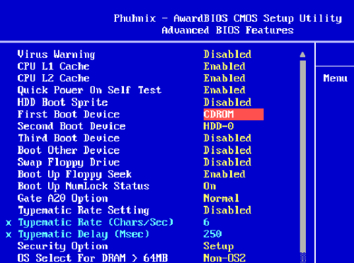 BIOS окно выбора порядка загрузки