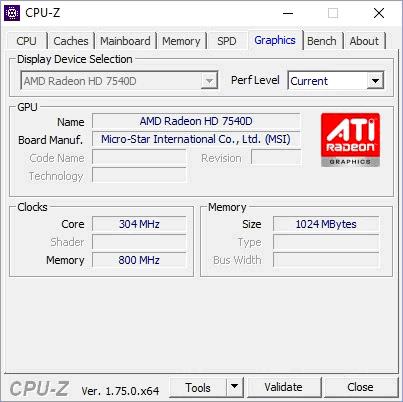 Данные видеокарты в CPU-Z