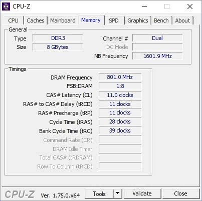 Характеристики ОЗУ в CPU-Z