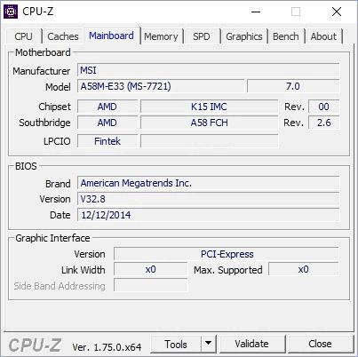 Материнская плата в CPU-Z