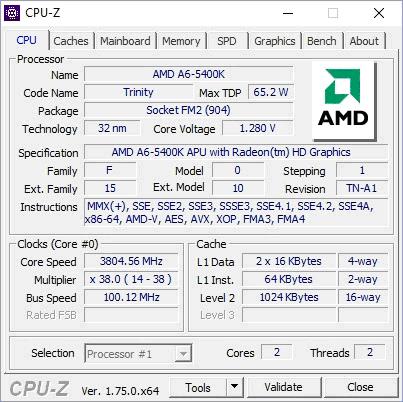Данные ЦП в CPU-Z
