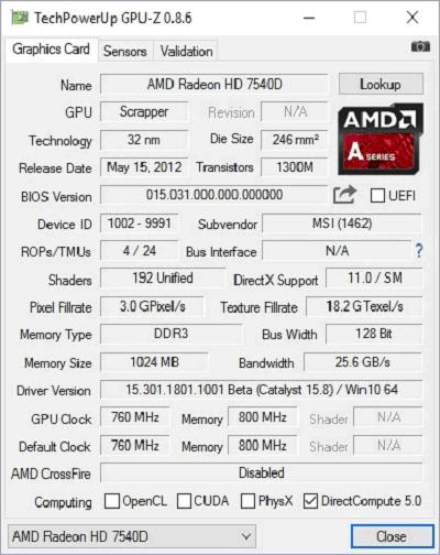 Данные видеокарты в GPU-Z