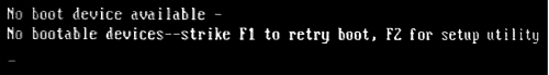 Сообщение BIOS об ошибке No boot device