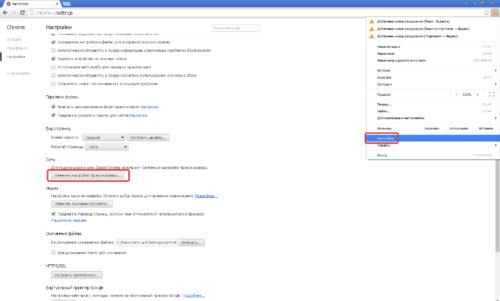 Браузер Google Chrome, настройки