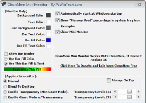 Окно программы CleanMem
