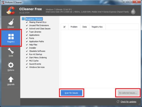 ССleaner: переходим во вкладку Registry