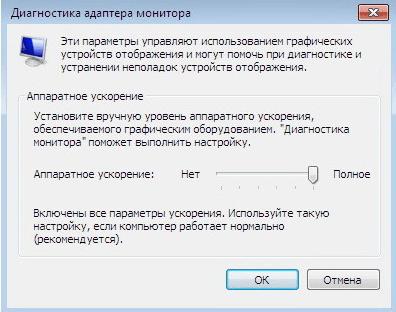 Параметры диагностики адаптера монитора
