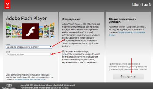 Выбор актуальной версии Flash Player