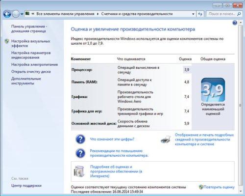 Оценка индекса производительности компьютера в Windows 7
