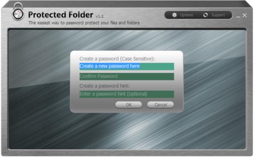 Окно программы Protected Folder
