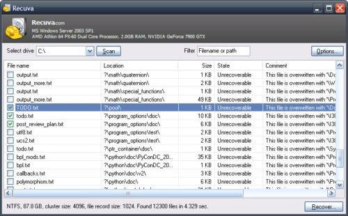 Recuva поможет при восстановлении истории браузера