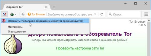 Запуск и остановка NoScript в Tor Browser