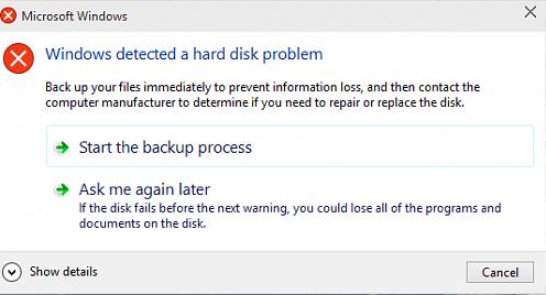 Ошибка жёсткого диска в Windows 10