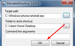 Сохранение в Elevated Shortcut
