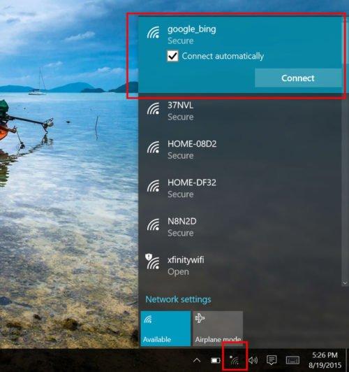 Подключение к WiFi в Windows 10