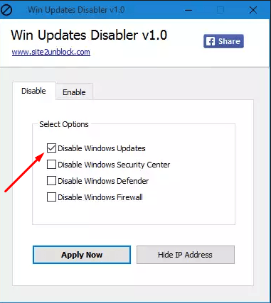 Выбор функции Win Updates Disabler