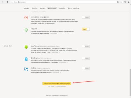 Яндекс. Дополнения