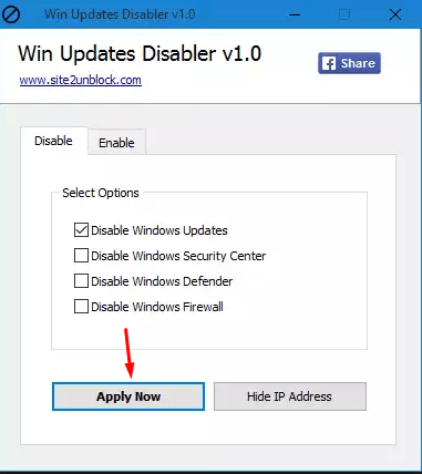 Запуск Win Updates Disabler