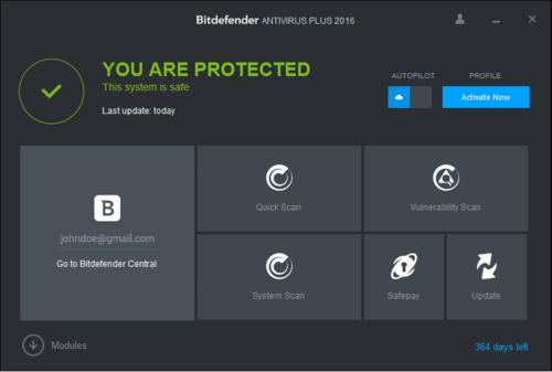Интерфейс антивируса Bitdefender