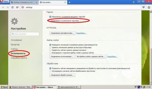 Подменю настроек безопасности Opera