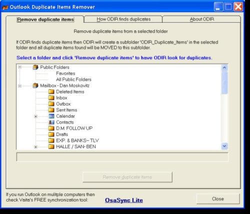 Программа Outlook Duplicate Items Remover